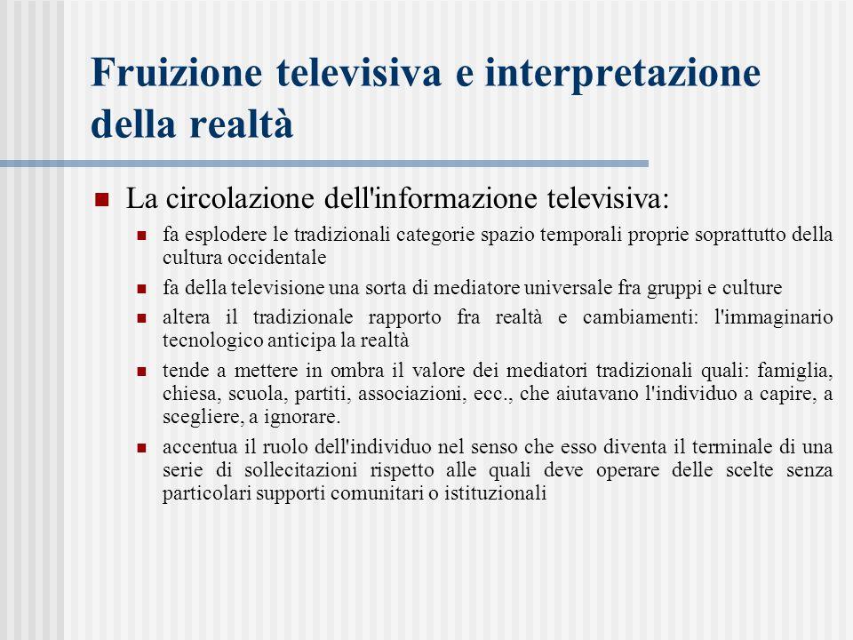 Fruizione televisiva e interpretazione della realtà La circolazione dell'informazione televisiva: fa esplodere le tradizionali categorie spazio tempor