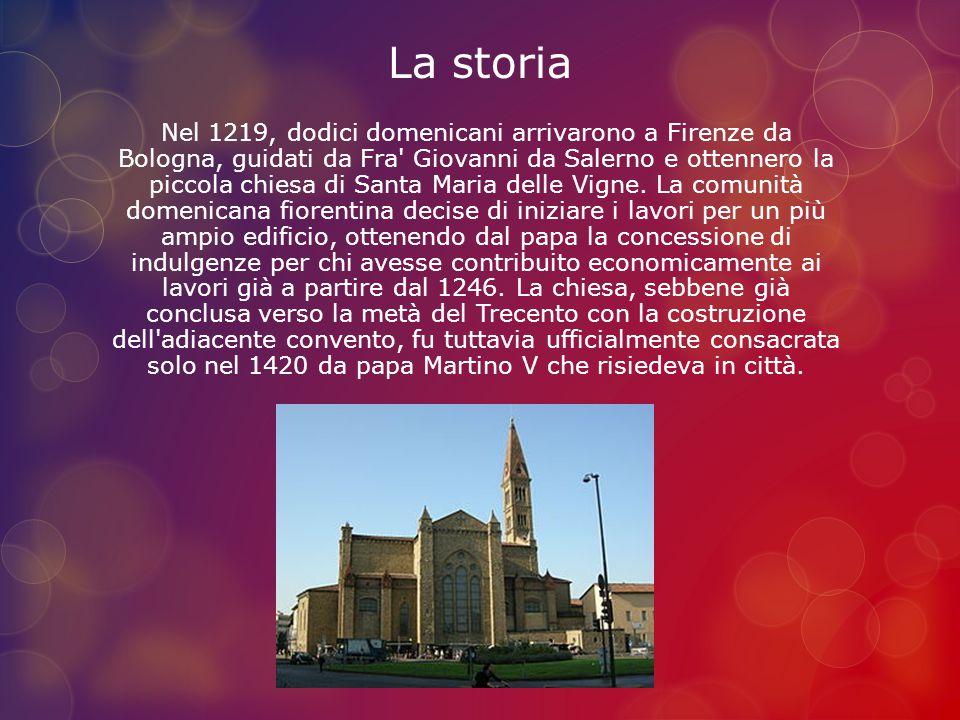 La storia Nel 1219, dodici domenicani arrivarono a Firenze da Bologna, guidati da Fra' Giovanni da Salerno e ottennero la piccola chiesa di Santa Mari