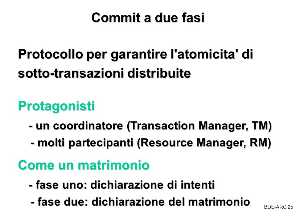 BDE-ARC 25 BDE Commit a due fasi Protocollo per garantire l atomicita di sotto-transazioni distribuite Come un matrimonio - fase uno: dichiarazione di intenti - fase uno: dichiarazione di intenti - fase due: dichiarazione del matrimonio - fase due: dichiarazione del matrimonio Protagonisti - un coordinatore (Transaction Manager, TM) - un coordinatore (Transaction Manager, TM) - molti partecipanti (Resource Manager, RM) - molti partecipanti (Resource Manager, RM)