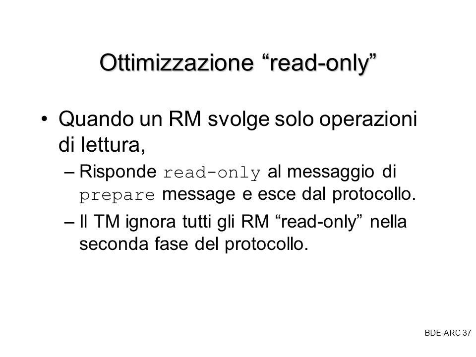 BDE-ARC 37 BDE Ottimizzazione read-only Quando un RM svolge solo operazioni di lettura, –Risponde read-only al messaggio di prepare message e esce dal protocollo.