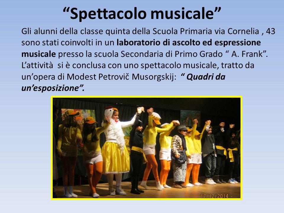 """""""Spettacolo musicale"""" Gli alunni della classe quinta della Scuola Primaria via Cornelia, 43 sono stati coinvolti in un laboratorio di ascolto ed espre"""