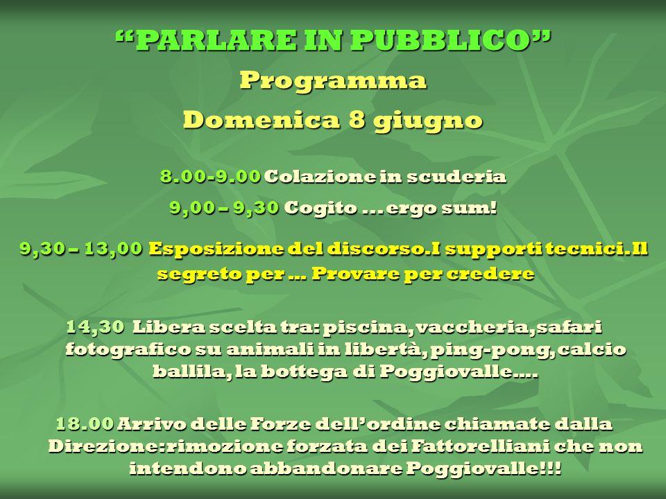 PARLARE IN PUBBLICO Programma Domenica 8 giugno 8.00-9.00 Colazione in scuderia 9,00 – 9,30 Cogito...
