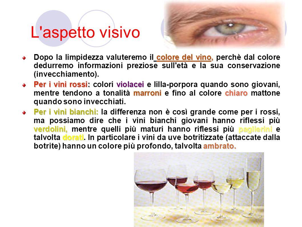 L aspetto visivo colore del vino, Dopo la limpidezza valuteremo il colore del vino, perchè dal colore dedurremo informazioni preziose sull età e la sua conservazione (invecchiamento).