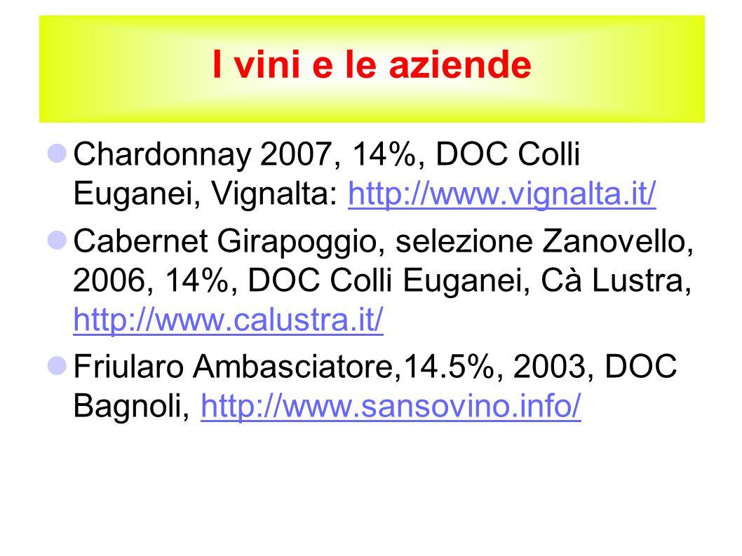 I vini e le aziende Chardonnay 2007, 14%, DOC Colli Euganei, Vignalta: http://www.vignalta.it/http://www.vignalta.it/ Cabernet Girapoggio, selezione Zanovello, 2006, 14%, DOC Colli Euganei, Cà Lustra, http://www.calustra.it/ http://www.calustra.it/ Friularo Ambasciatore,14.5%, 2003, DOC Bagnoli, http://www.sansovino.info/http://www.sansovino.info/
