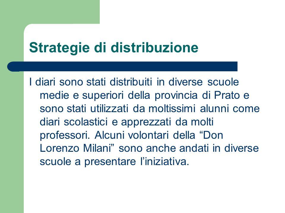 Strategie di distribuzione I diari sono stati distribuiti in diverse scuole medie e superiori della provincia di Prato e sono stati utilizzati da moltissimi alunni come diari scolastici e apprezzati da molti professori.