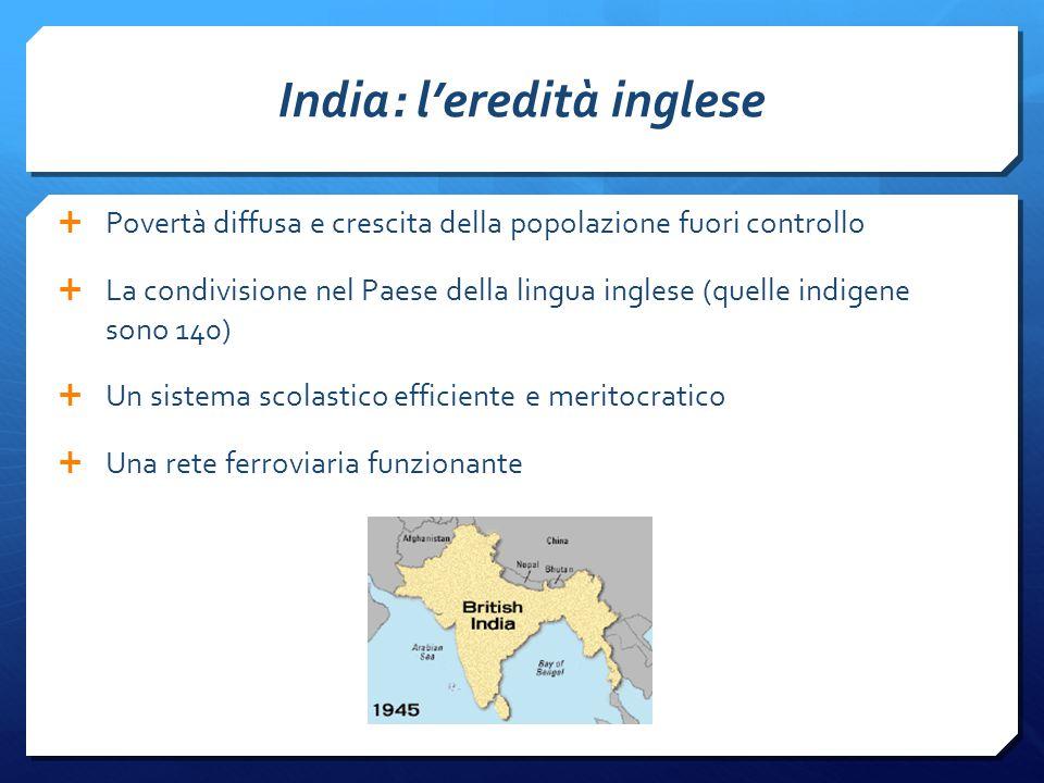 India: l'eredità inglese  Povertà diffusa e crescita della popolazione fuori controllo  La condivisione nel Paese della lingua inglese (quelle indigene sono 140)  Un sistema scolastico efficiente e meritocratico  Una rete ferroviaria funzionante