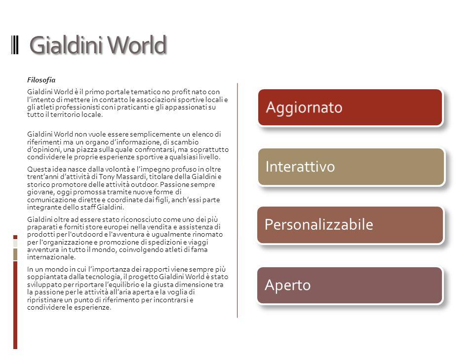 Gialdini World Filosofia Gialdini World è il primo portale tematico no profit nato con l'intento di mettere in contatto le associazioni sportive locali e gli atleti professionisti con i praticanti e gli appassionati su tutto il territorio locale.