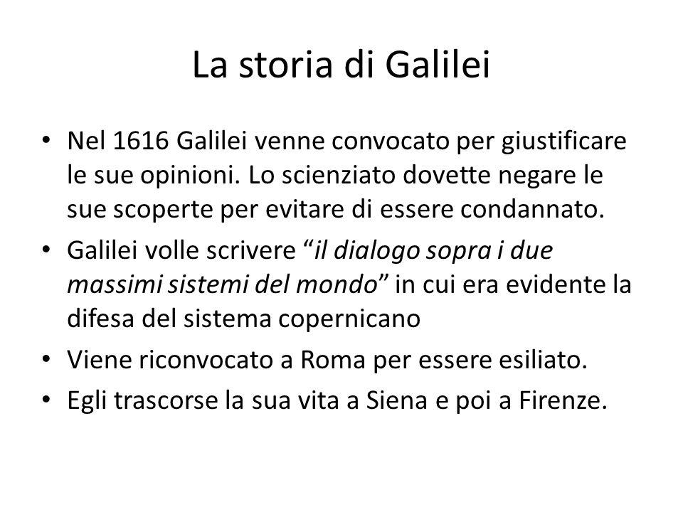 La storia di Galilei Nel 1616 Galilei venne convocato per giustificare le sue opinioni. Lo scienziato dovette negare le sue scoperte per evitare di es