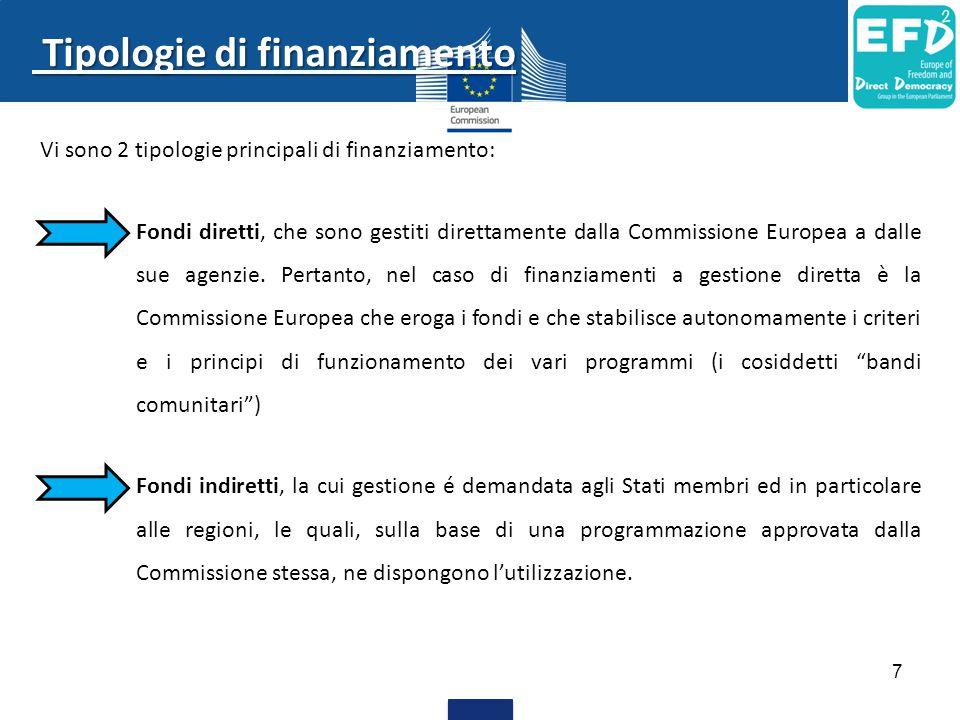 Vi sono 2 tipologie principali di finanziamento: Fondi diretti, che sono gestiti direttamente dalla Commissione Europea a dalle sue agenzie.