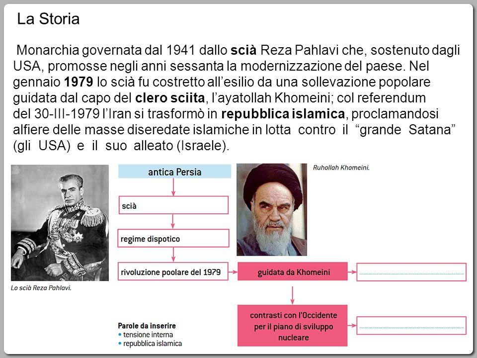 2 Monarchia governata dal 1941 dallo scià Reza Pahlavi che, sostenuto dagli USA, promosse negli anni sessanta la modernizzazione del paese.