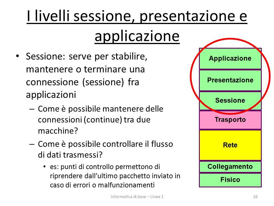 I livelli sessione, presentazione e applicazione Sessione: serve per stabilire, mantenere o terminare una connessione (sessione) fra applicazioni – Come è possibile mantenere delle connessioni (continue) tra due macchine.