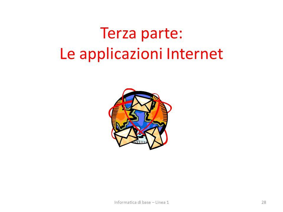 Terza parte: Le applicazioni Internet 28Informatica di base – Linea 1