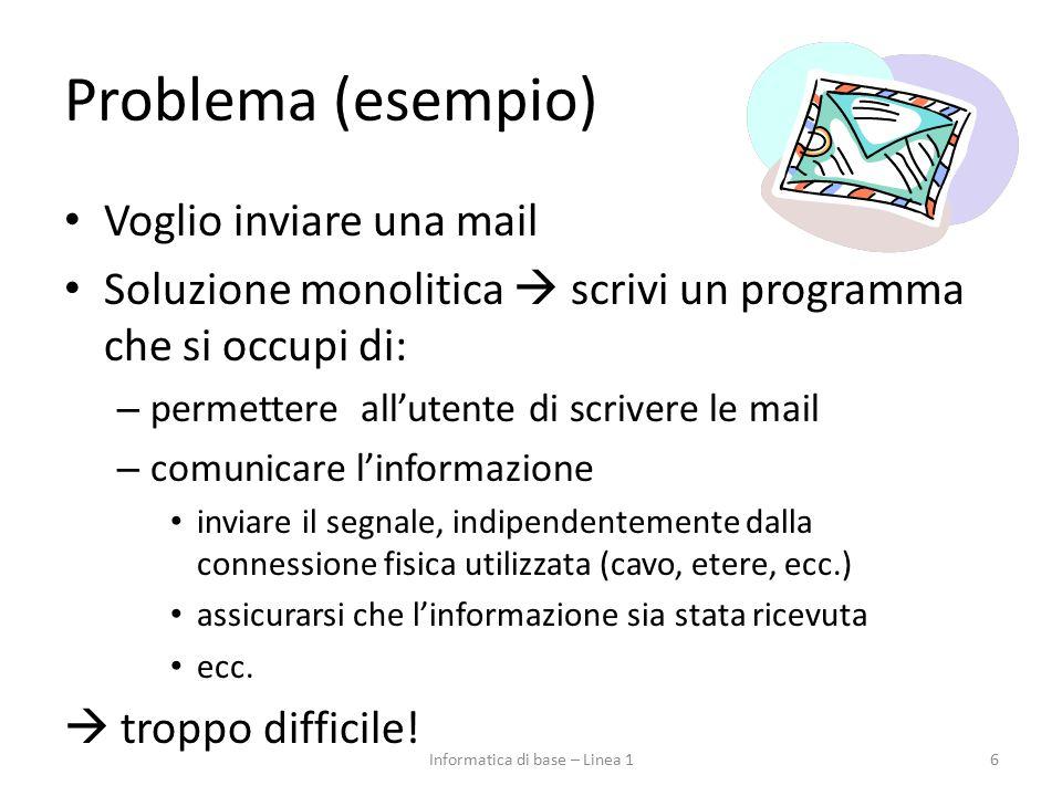 Le reti Problema difficile, che coinvolge diversi aspetti: – da quello fisico alla gestione della comunicazione 67Informatica di base – Linea 1