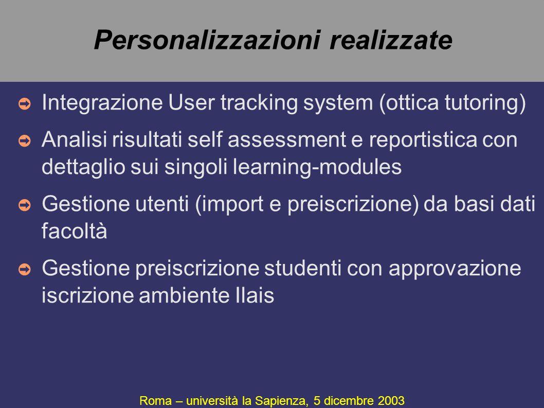 Personalizzazioni realizzate Roma – università la Sapienza, 5 dicembre 2003 ➲ Integrazione User tracking system (ottica tutoring) ➲ Analisi risultati