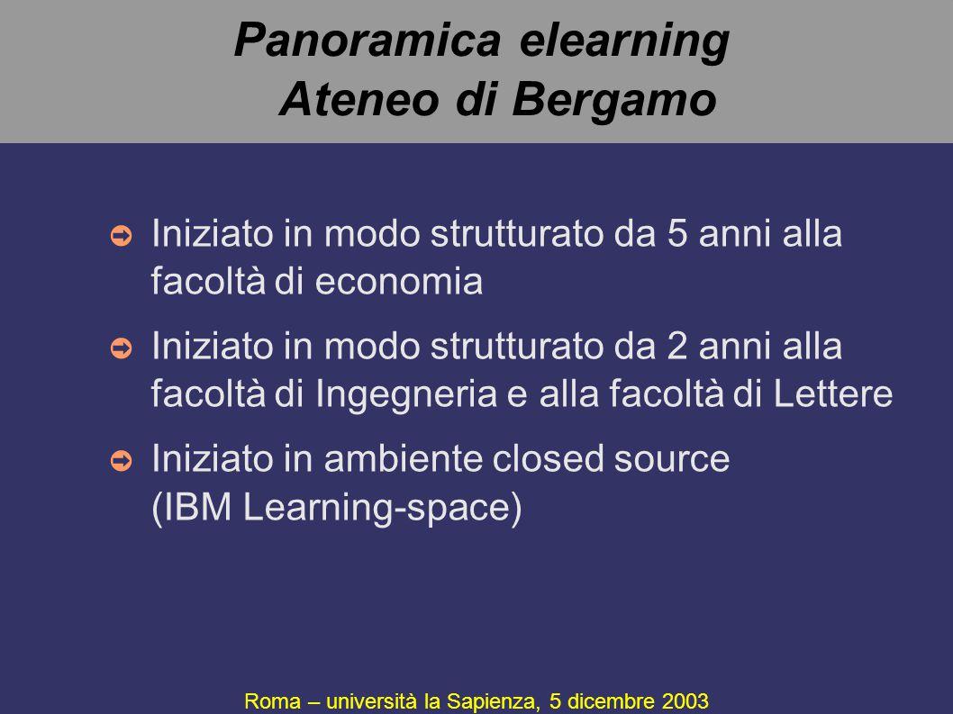 Panoramica elearning Ateneo di Bergamo ➲ Iniziato in modo strutturato da 5 anni alla facoltà di economia ➲ Iniziato in modo strutturato da 2 anni alla