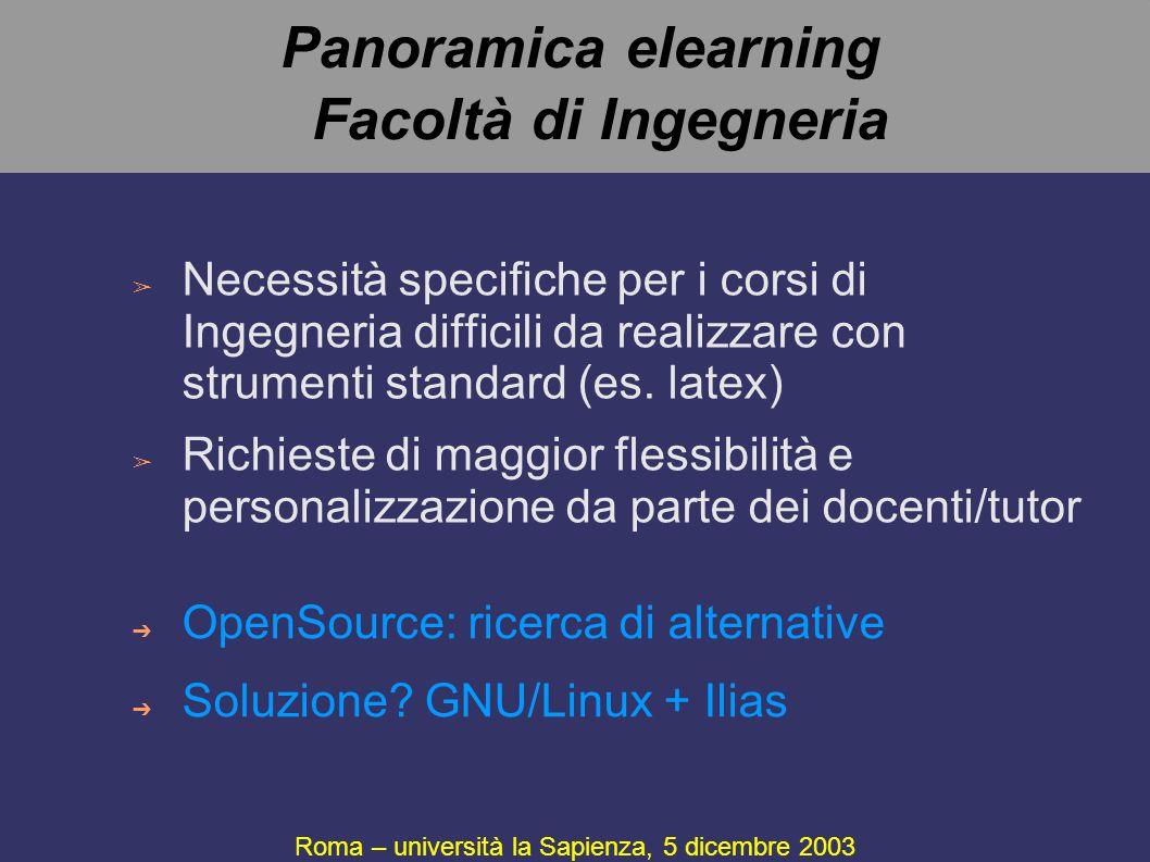 Panoramica elearning Facoltà di Ingegneria ➢ Necessità specifiche per i corsi di Ingegneria difficili da realizzare con strumenti standard (es. latex)