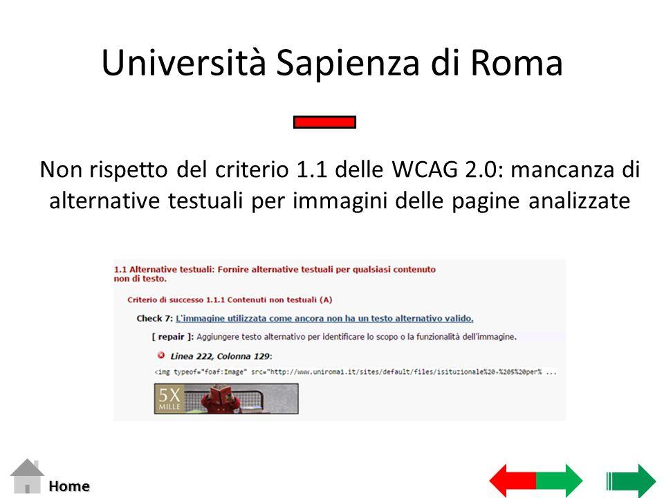 Università Sapienza di Roma Non rispetto del criterio 1.1 delle WCAG 2.0: mancanza di alternative testuali per immagini delle pagine analizzate Home