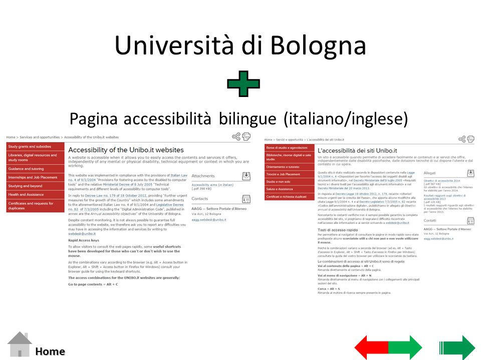 Università di Bologna Pagina accessibilità bilingue (italiano/inglese) Home