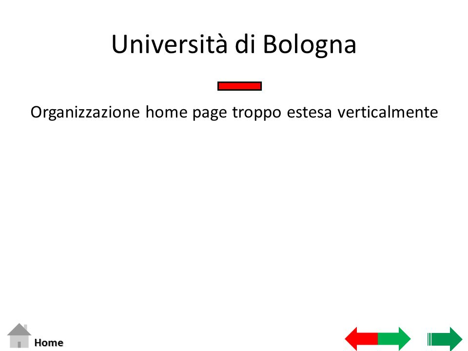 Università di Bologna Organizzazione home page troppo estesa verticalmente Home
