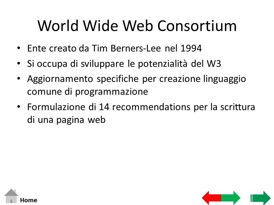 World Wide Web Consortium Ente creato da Tim Berners-Lee nel 1994 Si occupa di sviluppare le potenzialità del W3 Aggiornamento specifiche per creazione linguaggio comune di programmazione Formulazione di 14 recommendations per la scrittura di una pagina web Home