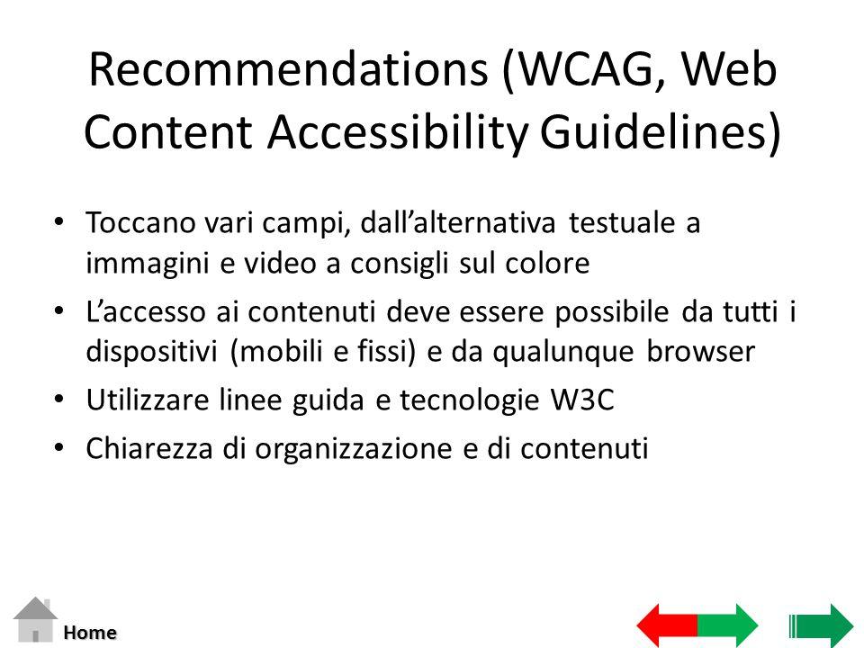 Recommendations (WCAG, Web Content Accessibility Guidelines) Toccano vari campi, dall'alternativa testuale a immagini e video a consigli sul colore L'
