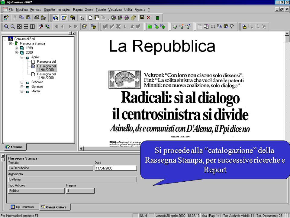 Si procede alla catalogazione della Rassegna Stampa, per successive ricerche e Report