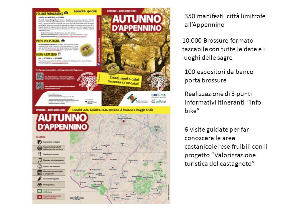 10.000 Brossure formato tascabile con tutte le date e i luoghi delle sagre 100 espositori da banco porta brossure 350 manifesti città limitrofe all'Ap