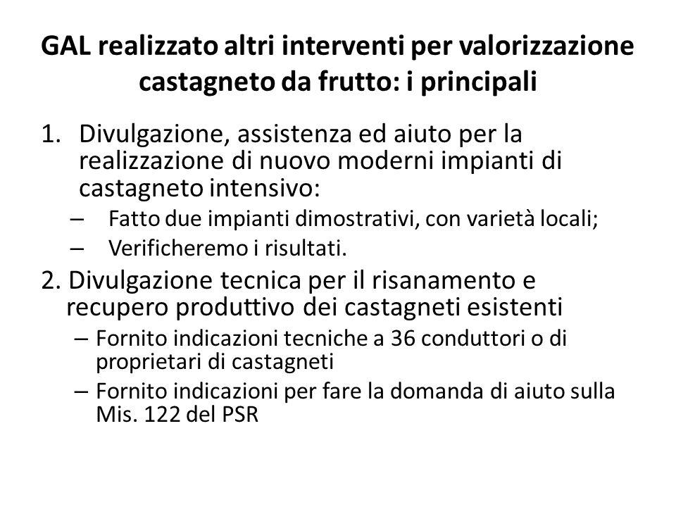 GAL realizzato altri interventi per valorizzazione castagneto da frutto: i principali 1.Divulgazione, assistenza ed aiuto per la realizzazione di nuov