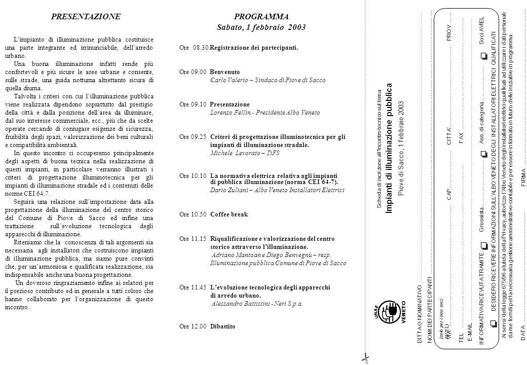 Ore 08.30 Registrazione dei partecipanti. Ore 09.00 Benvenuto Carlo Valerio – Sindaco di Piove di Sacco Ore 09.10 Presentazione Lorenzo Fellin - Presi