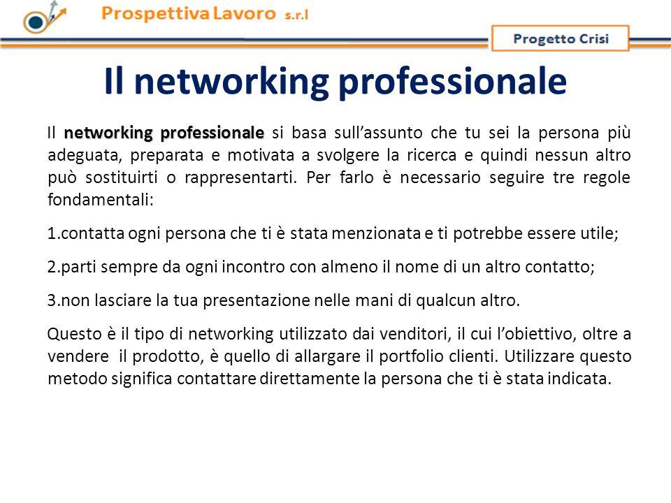 Il networking professionale networking professionale Il networking professionale si basa sull'assunto che tu sei la persona più adeguata, preparata e motivata a svolgere la ricerca e quindi nessun altro può sostituirti o rappresentarti.