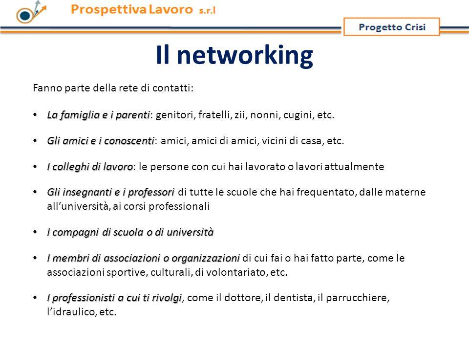 Gli obiettivi del networking Il networking è un'attività naturale che utilizziamo quotidianamente nella nostra vita in modo spontaneo e intuitivo.