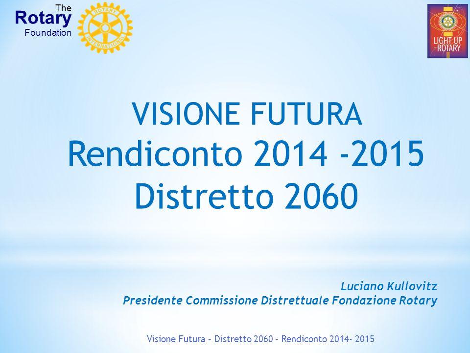 VISIONE FUTURA Rendiconto 2014 -2015 Distretto 2060 Luciano Kullovitz Presidente Commissione Distrettuale Fondazione Rotary Visione Futura – Distretto 2060 – Rendiconto 2014- 2015 The Rotary Foundation