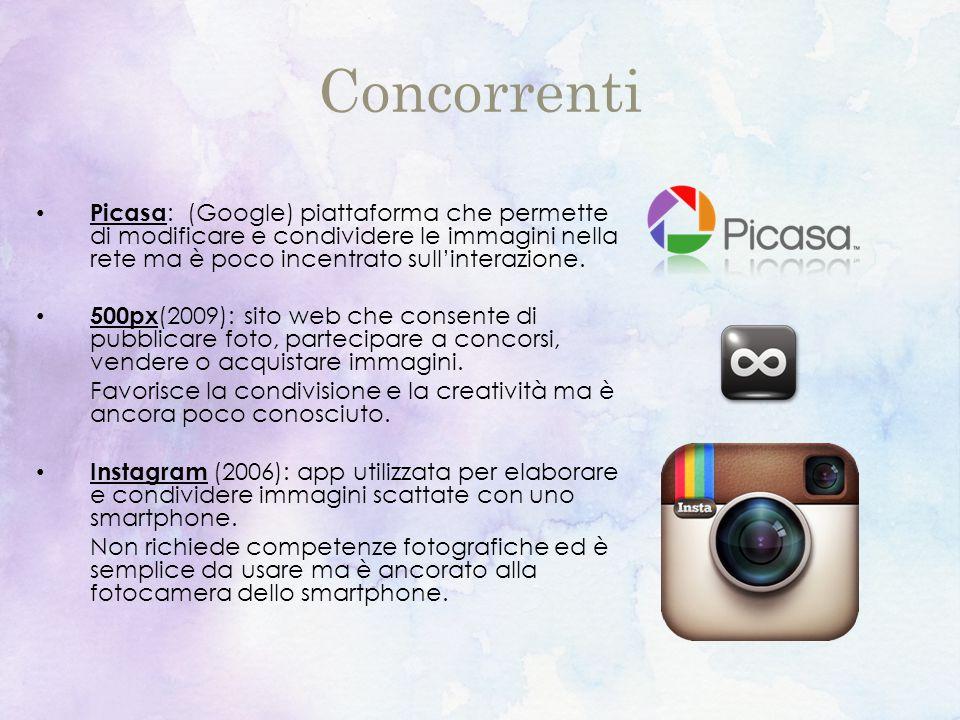 Concorrenti Picasa : (Google) piattaforma che permette di modificare e condividere le immagini nella rete ma è poco incentrato sull'interazione.