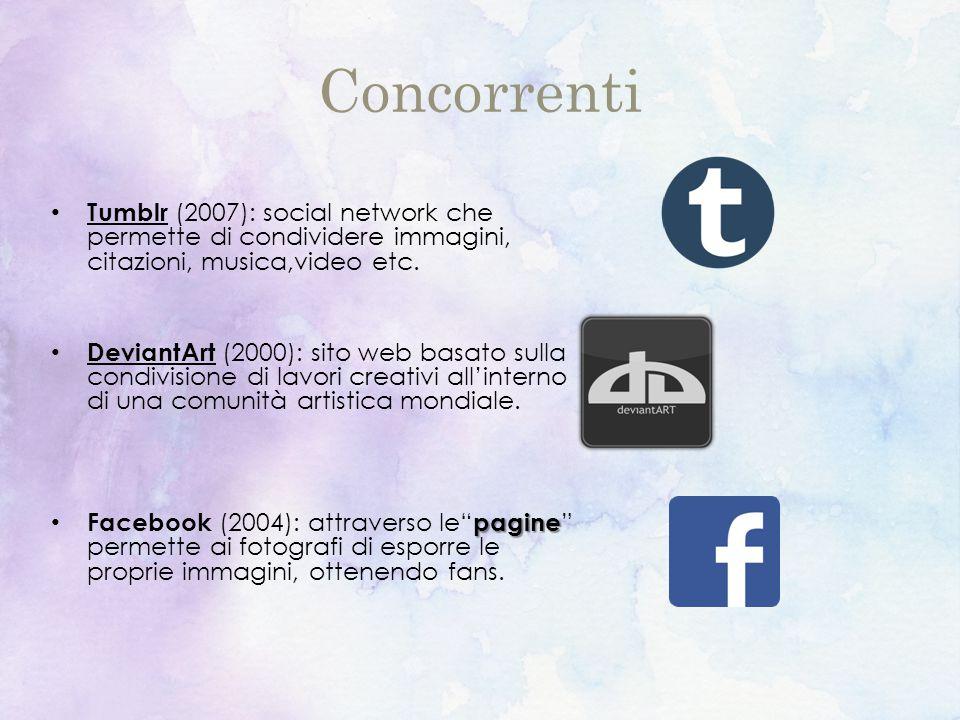 Concorrenti Tumblr (2007): social network che permette di condividere immagini, citazioni, musica,video etc.