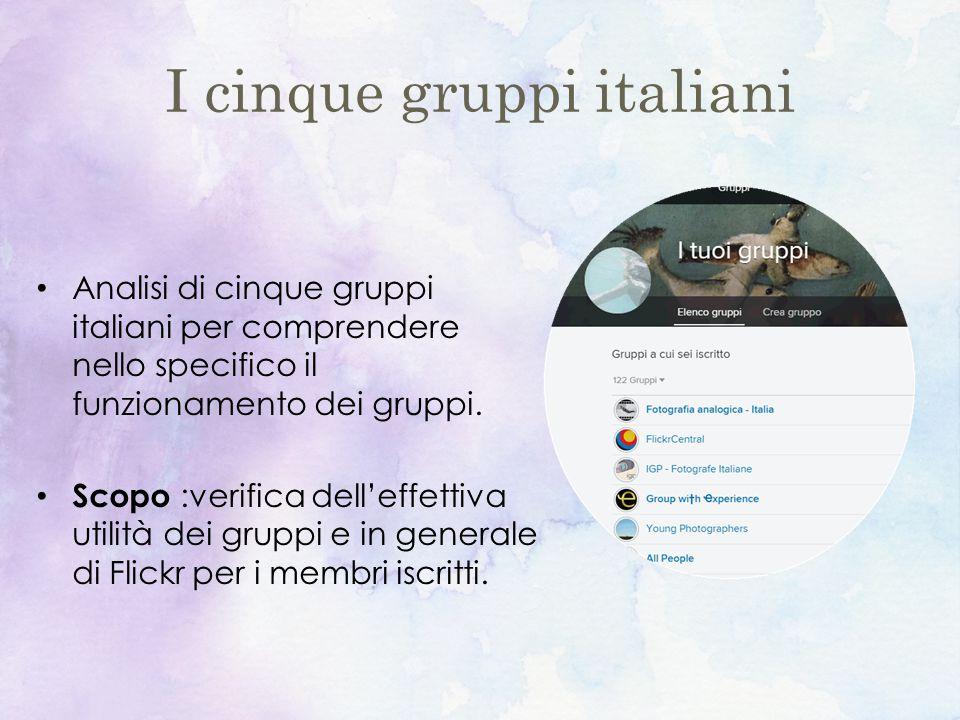 I cinque gruppi italiani Analisi di cinque gruppi italiani per comprendere nello specifico il funzionamento dei gruppi.
