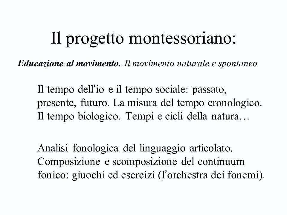 Il progetto montessoriano: Il tempo dell ' io e il tempo sociale: passato, presente, futuro.