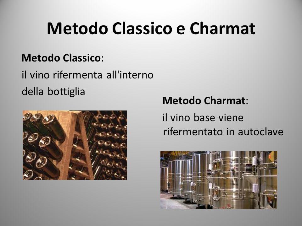 Metodo Classico e Charmat Metodo Classico: il vino rifermenta all'interno della bottiglia Metodo Charmat: il vino base viene rifermentato in autoclave