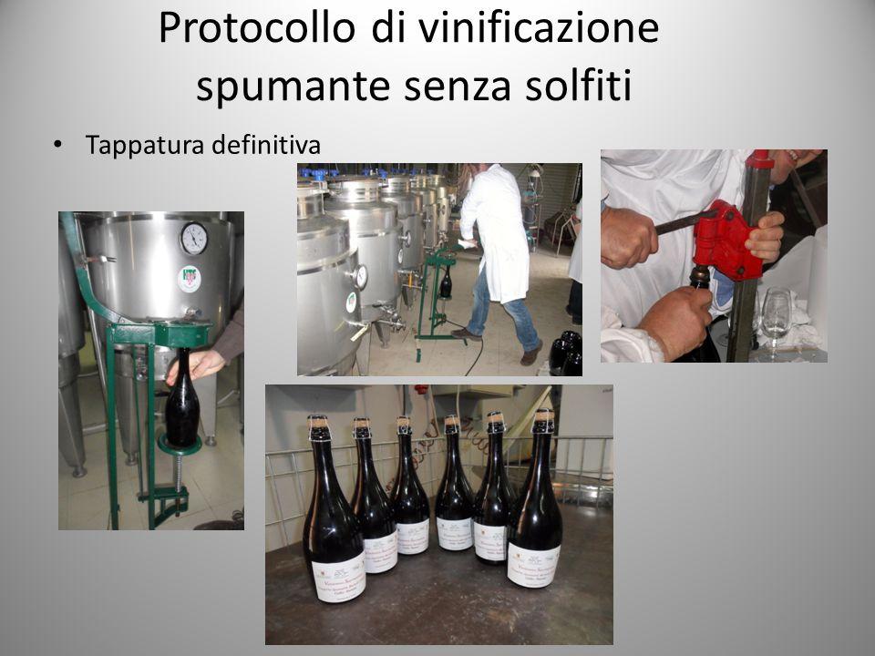 Protocollo di vinificazione spumante senza solfiti Tappatura definitiva