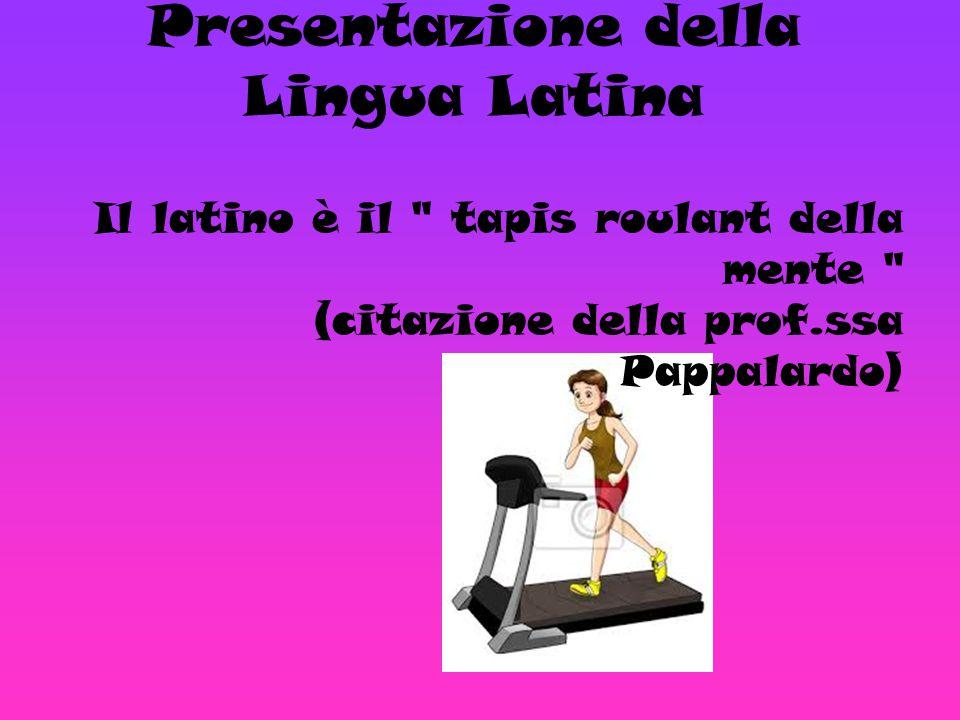 Presentazione della Lingua Latina Il latino è il tapis roulant della mente (citazione della prof.ssa Pappalardo)