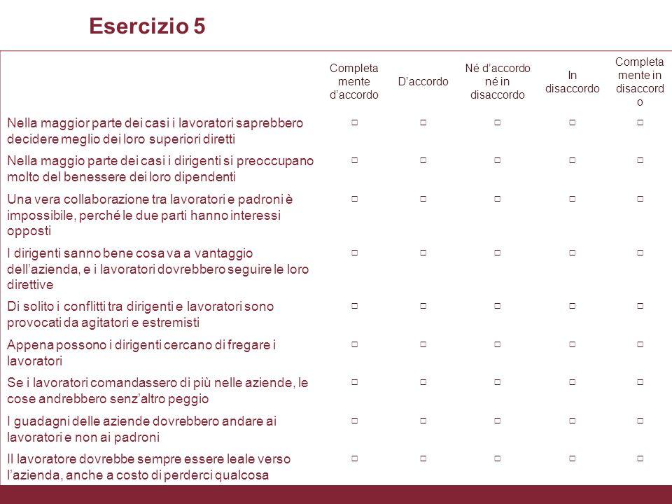 L'uso delle scale nella rilevazione degli atteggiamenti Xxxx Esercizio 5 Completa mente d'accordo D'accordo Né d'accordo né in disaccordo In disaccord