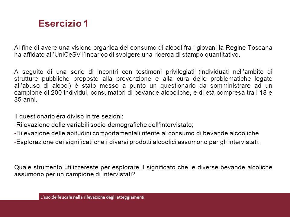 Al fine di avere una visione organica del consumo di alcool fra i giovani la Regine Toscana ha affidato all'UniCeSV l'incarico di svolgere una ricerca