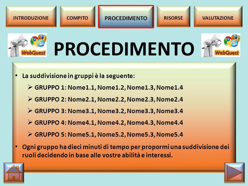 Consultate la seguente tabella per organizzarvi al meglio: ATTIVITA' TEMPI [h] (spazi) Lettura del compito e formazione dei gruppi.