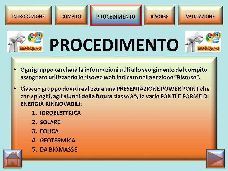 RISORSE Nelle pagine seguenti sono riportate le risorse web disponibili per i lavori di ciascun gruppo.