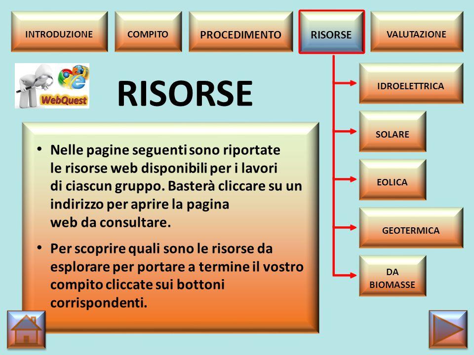 ENERGIA IDROELETRICA http://it.wikipedia.org/wiki/Energia_idroelettrica http://www.eniscuola.net/argomento/idroelettrica/ http://www.enel.it/it- IT/impianti/tecnologie/idroelettrica/http://www.enel.it/it- IT/impianti/tecnologie/idroelettrica/ http://www.liceoberchet.it/ricerche/geo4d_09/gruppo _c/energia_idroelettrica.htmlhttp://www.liceoberchet.it/ricerche/geo4d_09/gruppo _c/energia_idroelettrica.html https://www.youtube.com/watch?v=4YZqAg2ATjE RISORSE IDROELETTRICA SOLARE EOLICA GEOTERMICA DA BIOMASSE INTRODUZIONECOMPITO PROCEDIMENTO RISORSE VALUTAZIONE