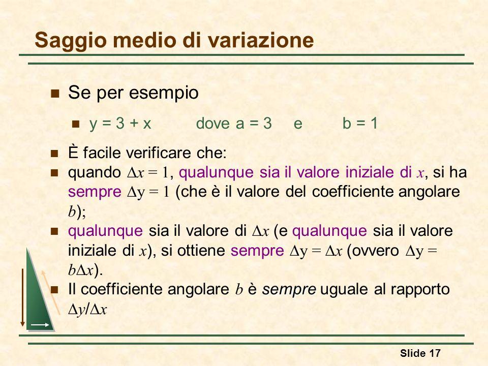 Saggio medio di variazione Se per esempio y = 3 + xdove a = 3e b = 1 È facile verificare che: quando  x = 1, qualunque sia il valore iniziale di x, s