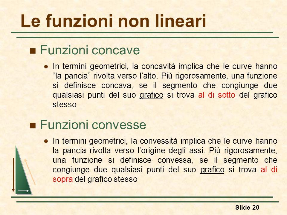 """Le funzioni non lineari Funzioni concave In termini geometrici, la concavità implica che le curve hanno """"la pancia"""" rivolta verso l'alto. Più rigorosa"""