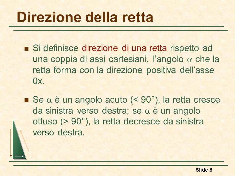 Slide 8 Direzione della retta Si definisce direzione di una retta rispetto ad una coppia di assi cartesiani, l'angolo  che la retta forma con la dire