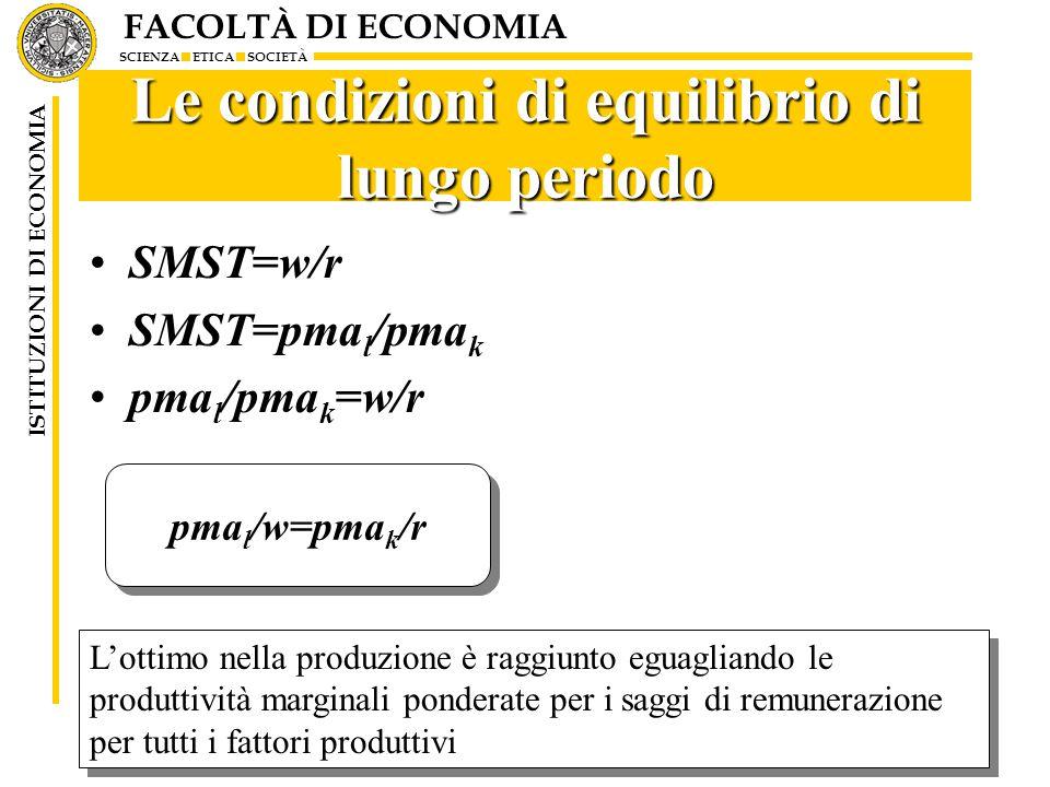 FACOLTÀ DI ECONOMIA SCIENZA ETICA SOCIETÀ ISTITUZIONI DI ECONOMIA 11 Le condizioni di equilibrio di lungo periodo SMST=w/r SMST=pma l /pma k pma l /pma k =w/r pma l /w=pma k /r L'ottimo nella produzione è raggiunto eguagliando le produttività marginali ponderate per i saggi di remunerazione per tutti i fattori produttivi