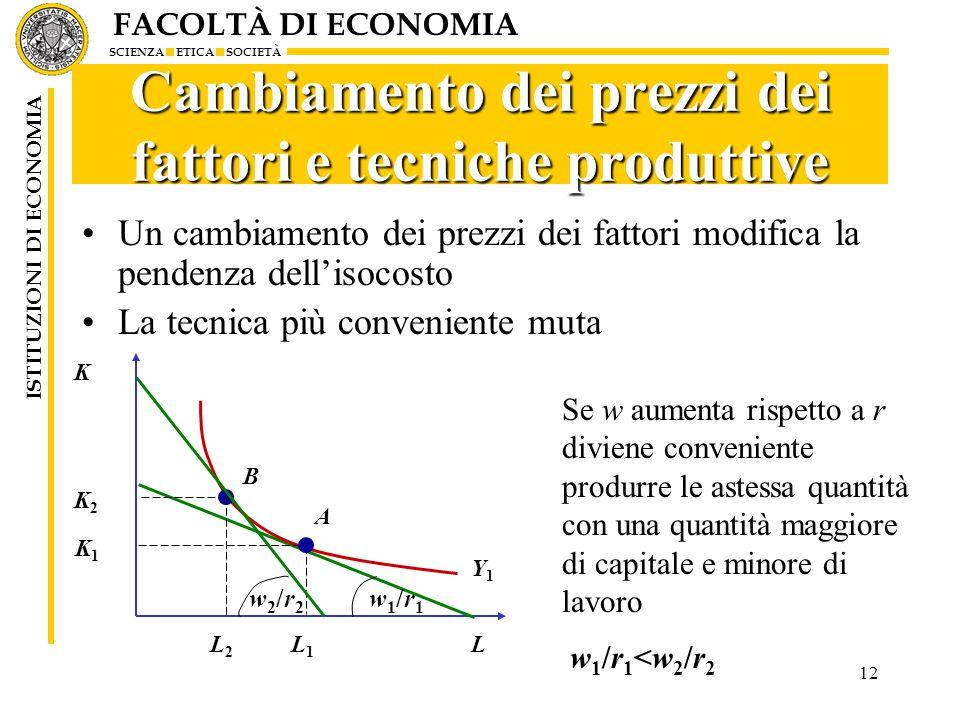 FACOLTÀ DI ECONOMIA SCIENZA ETICA SOCIETÀ ISTITUZIONI DI ECONOMIA 12 Cambiamento dei prezzi dei fattori e tecniche produttive Un cambiamento dei prezzi dei fattori modifica la pendenza dell'isocosto La tecnica più conveniente muta Se w aumenta rispetto a r diviene conveniente produrre le astessa quantità con una quantità maggiore di capitale e minore di lavoro K L Y1Y1 K1K1 L1L1 A w1/r1w1/r1 B L2L2 K2K2 w2/r2w2/r2 w1/r1<w2/r2w1/r1<w2/r2