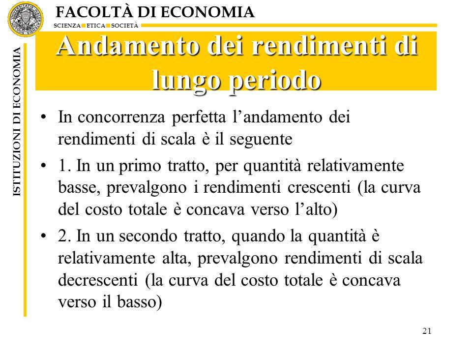 FACOLTÀ DI ECONOMIA SCIENZA ETICA SOCIETÀ ISTITUZIONI DI ECONOMIA 21 Andamento dei rendimenti di lungo periodo In concorrenza perfetta l'andamento dei rendimenti di scala è il seguente 1.